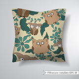 Pattern with cute owls and leaves. Creative sofa pillow. Royalty Free Stock Photos