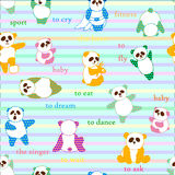 Pattern with cute pandas. Stock Image