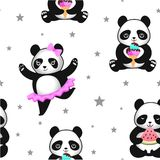 Pattern with cute pandas. Vector seamless texture. Pattern with cute pandas. Vector seamless texture Stock Photos