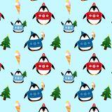 Pattern of cute penguins in sweaters and hats stock illustration