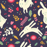 Pattern with cute rabbits Royalty Free Stock Photos