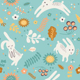 Pattern with cute rabbits Stock Images