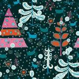 Pattern with cute Santa deer, doodle snowman Stock Photos