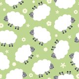Pattern with cute sheep. Wallpaper with cute sheep. Seamless vector pattern Royalty Free Stock Photography