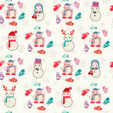 Pattern  with cute snowmen and mitten. Royalty Free Stock Photos