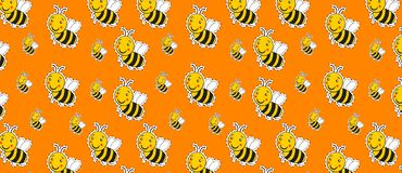Pattern with cute striped little bumble bee or honey bee logo. With a happy smile stock illustration