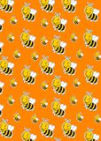 Pattern with cute striped little bumble bee or honey bee logo vector illustration