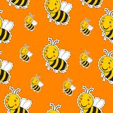 Pattern with cute striped little bumble bee. Or honey bee logo with a happy smile stock illustration