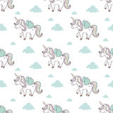 Pattern with cute unicorn Royalty Free Stock Images