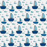 Pattern With Cute Whale And Sailboat. Vector Illustration Royalty Free Stock Photography
