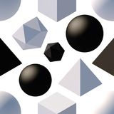 Pattern with 3d shapes. Seamless pattern with 3d primitives. Abstract background with isometric cube, ball, octagon and pyramid. Black and white tileable vector Royalty Free Stock Images