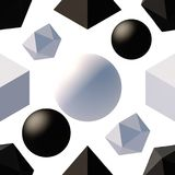 Pattern with 3d shapes. Seamless pattern with 3d primitives. Abstract background with isometric cube, ball, octagon and pyramid. Black and white tileable vector Stock Image