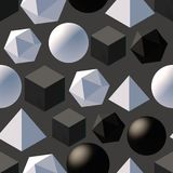 Pattern with 3d shapes. Seamless pattern with 3d primitives. Abstract background with isometric cube, ball, octagon and pyramid. Black and white tileable vector Stock Photos