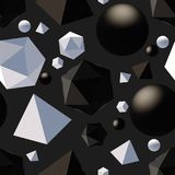 Pattern with 3d shapes. Seamless pattern with 3d primitives. Abstract background with isometric cube, ball, octagon and pyramid. Black and white tileable vector royalty free illustration