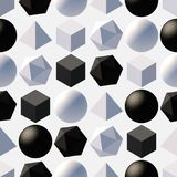 Pattern with 3d shapes. Seamless pattern with 3d primitives. Abstract background with isometric cube, ball, octagon and pyramid. Black and white tileable vector Royalty Free Stock Image