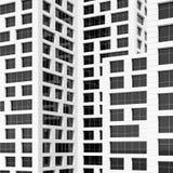 Pattern of dark windows on white walls. 3d. Abstract modern architecture, pattern of dark windows on white walls. 3d render illustration royalty free illustration