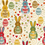Pattern with decorated eggs and funny rabbits Royalty Free Stock Photo