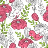 Pattern. Decorative birds and flowers. Birds and flowers. Seamless pattern. Prints for wallpaper, wrapper, fabric, paper Stock Images
