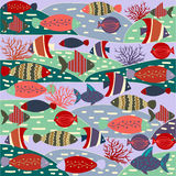 Pattern decorative with colorful cute fishes. Royalty Free Stock Image