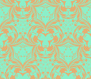 Pattern from decorative elements in a grey-green tonality. This is the vector object of the coloured beautiful design. There are the beige seamless pattern and Stock Images