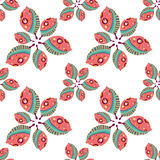 Pattern with decorative leafs Royalty Free Stock Photos