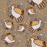 Pattern with decorative roosters Stock Photo
