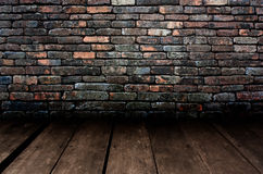 Pattern of decorative stone wall and wood flooring surface Royalty Free Stock Photos