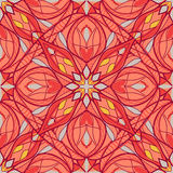 Pattern with decorative symmetric ornament. Vector seamless texture Stock Photo