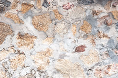 Pattern decorative uneven cracked real stone wall surface with cement Royalty Free Stock Image