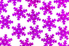 Pattern with decorative violet snowflakes on a white background Stock Image