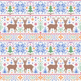 Pattern with deers, trees and snowflakes Stock Photos