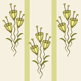 Pattern of delicate flowers. Vector pattern of yellow flowers and green leaves Stock Photography