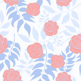Pattern With Delicate Roses On A Background Of Blue Leaves. Vector illustration Stock Photo