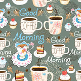 Pattern delicious cup of coffee Royalty Free Stock Image