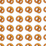 Pattern with delicious pretzel  for fast food business. Pattern with delicious pretzel  for poster, menus, brochure, web fast food business. Cartoon style  on Royalty Free Stock Photo