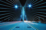 Pattern and Design of Bridge with car light trails Royalty Free Stock Photography