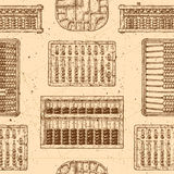 Pattern with different abacus. Seamless pattern with different vintage abacuses. Vector illustration in ink hand drawn style royalty free illustration