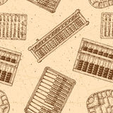 Pattern with different abacus. Seamless pattern with different vintage abacuses. Vector illustration in ink hand drawn style Royalty Free Stock Photography