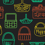 Pattern with different baskets Royalty Free Stock Photos
