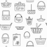 Pattern with different baskets Stock Image