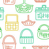 Pattern with different baskets Stock Photos