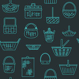 Pattern with different baskets Royalty Free Stock Images