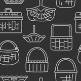 Pattern with different baskets Stock Photo