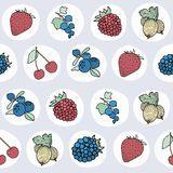 Pattern with different berries Stock Photos