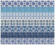 Pattern of 7 different blue tiles Stock Image