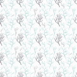 Pattern of different branches. Seamless pattern of bare tree branches. It contains the bare branches of different colors, shapes and sizes. The branches are gray Royalty Free Stock Photos