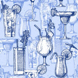 Pattern with different cocktails Stock Photography