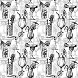 Pattern with different cocktails Stock Image
