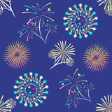 Pattern with different colorful fireworks. Vector illustration Royalty Free Stock Image