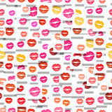 Pattern of different coloured lip imprints Stock Images